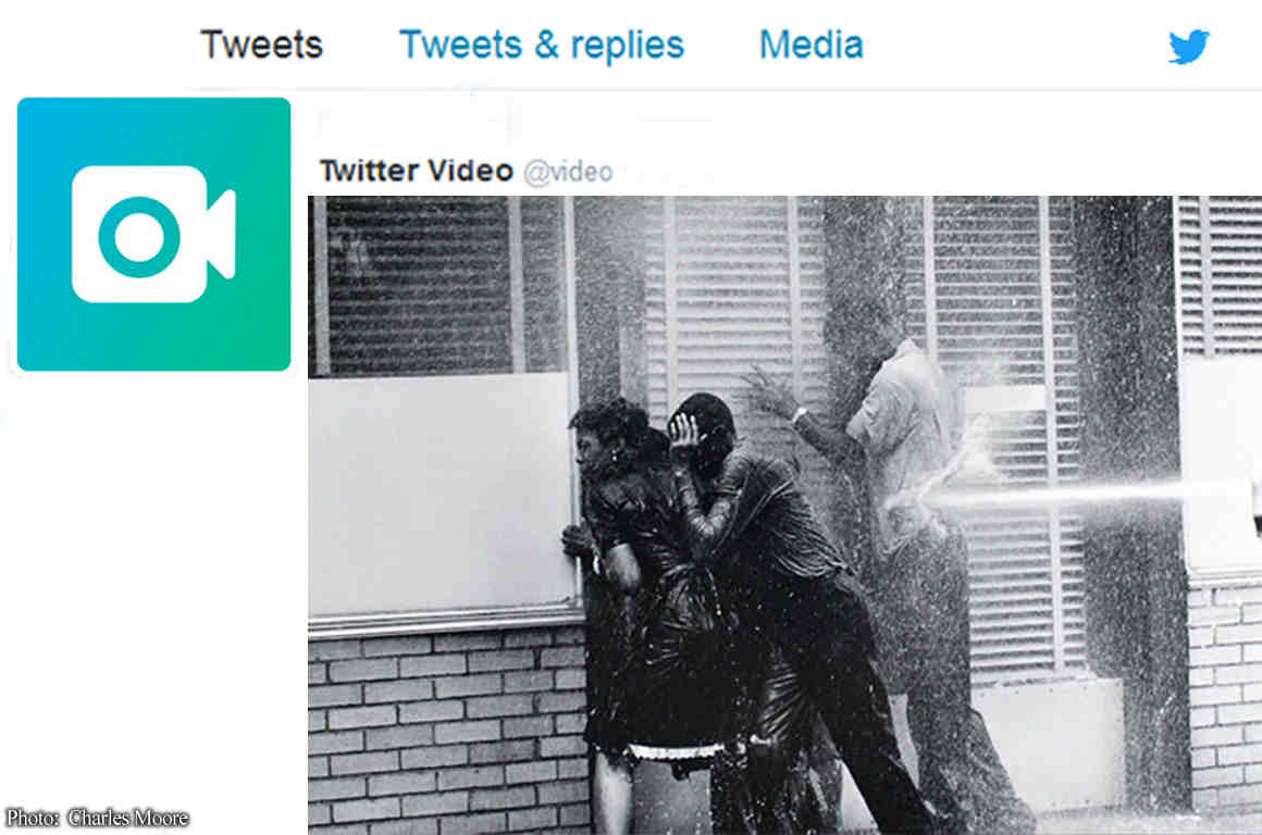 Famous civil rights photo of firehose use on protesters, on Twitter