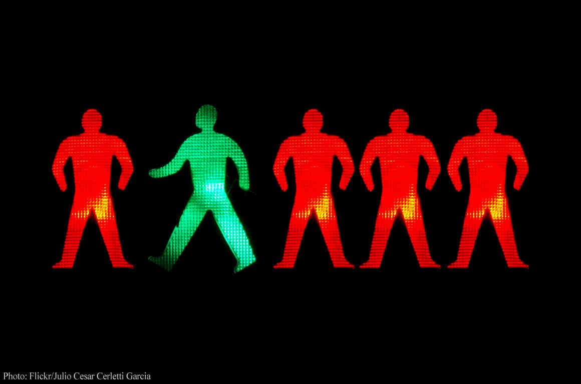 "5 men in ""don't walk"" sign"