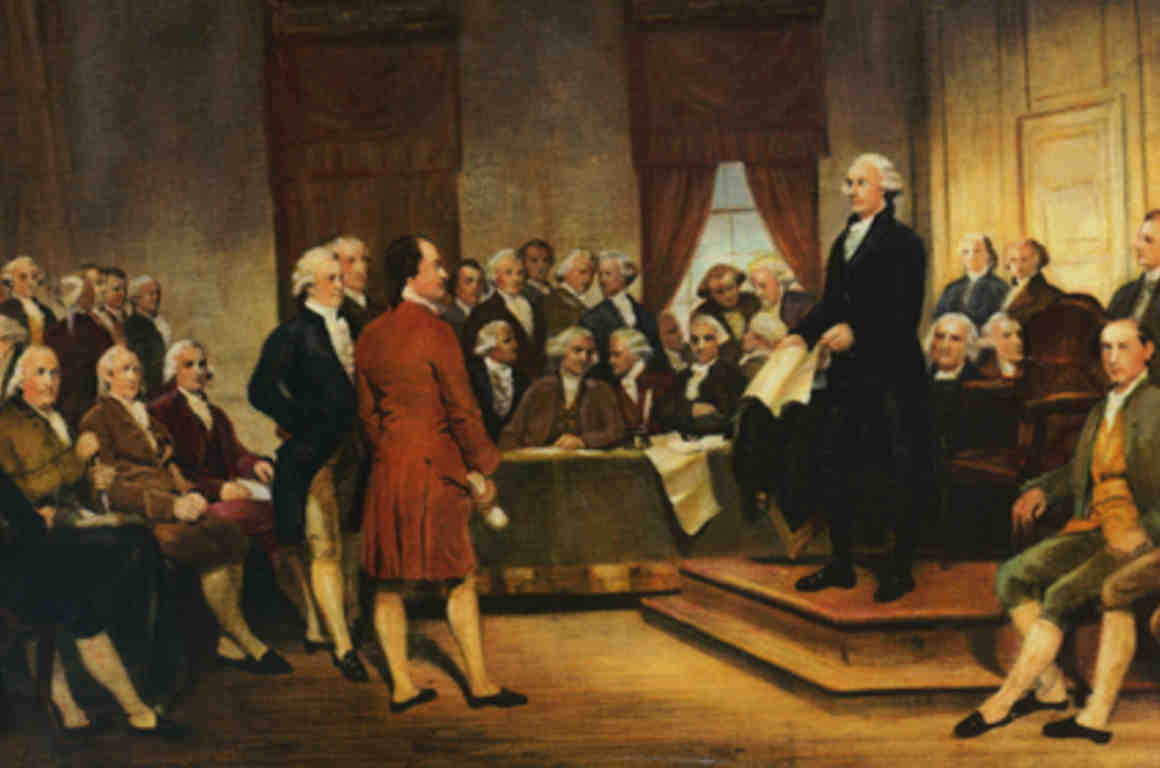 "Detail from painting ""Washington as Statesman at the Constitutional Convention"""
