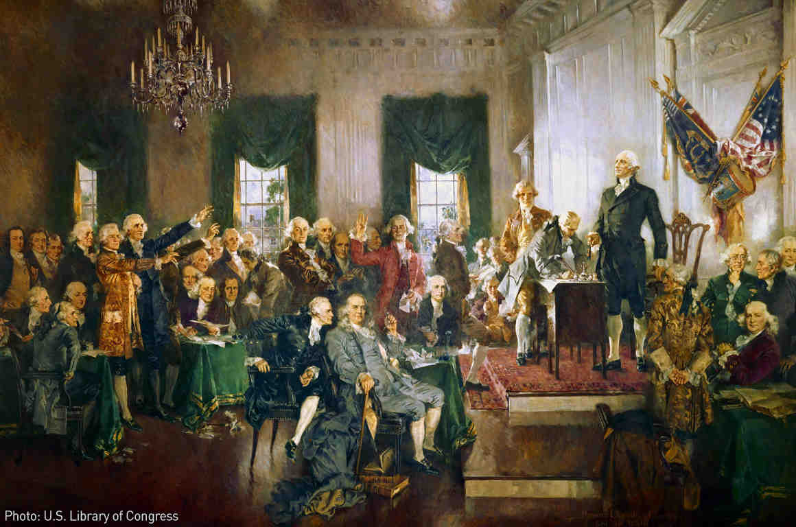 The signing of the Constitution in 1787