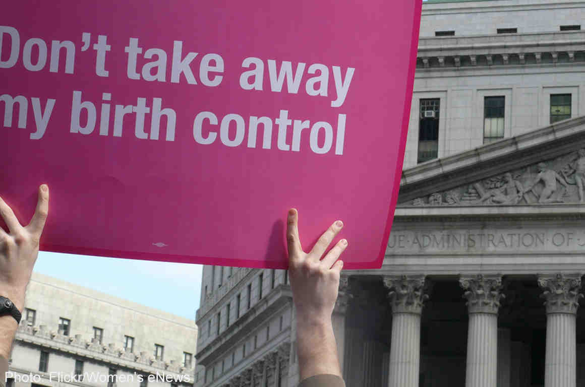 """Protester holding up """"Don't take away my birth control"""" sign"""