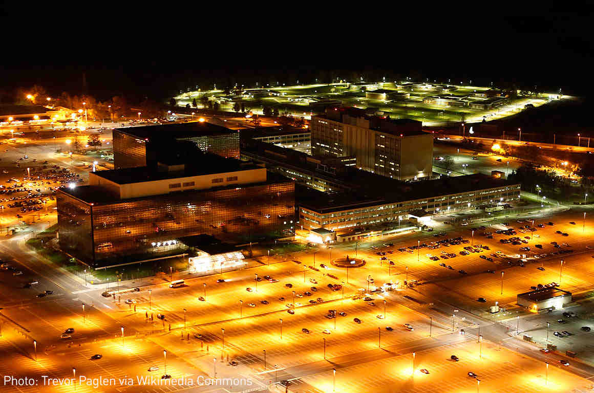 NSA headquarters at night