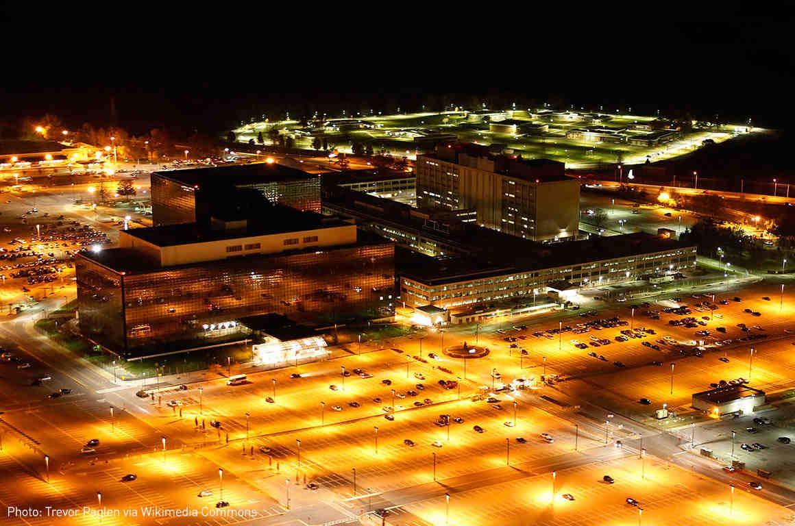 NSA headquarters at night
