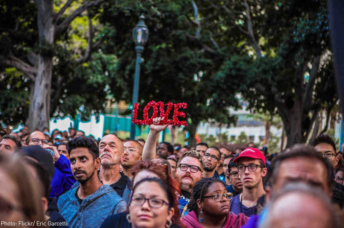 The crowd at a vigil for the victims on the shooting in Orlando on the steps of City Hall.