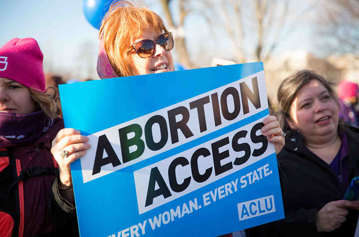 "Woman holding ""Abortion Access"" poster at rally"