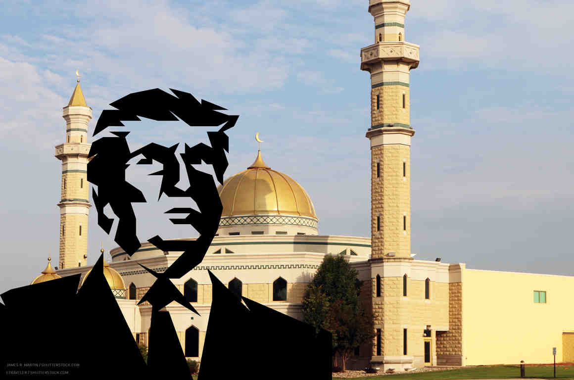 Trump stencil imposed on Mosque