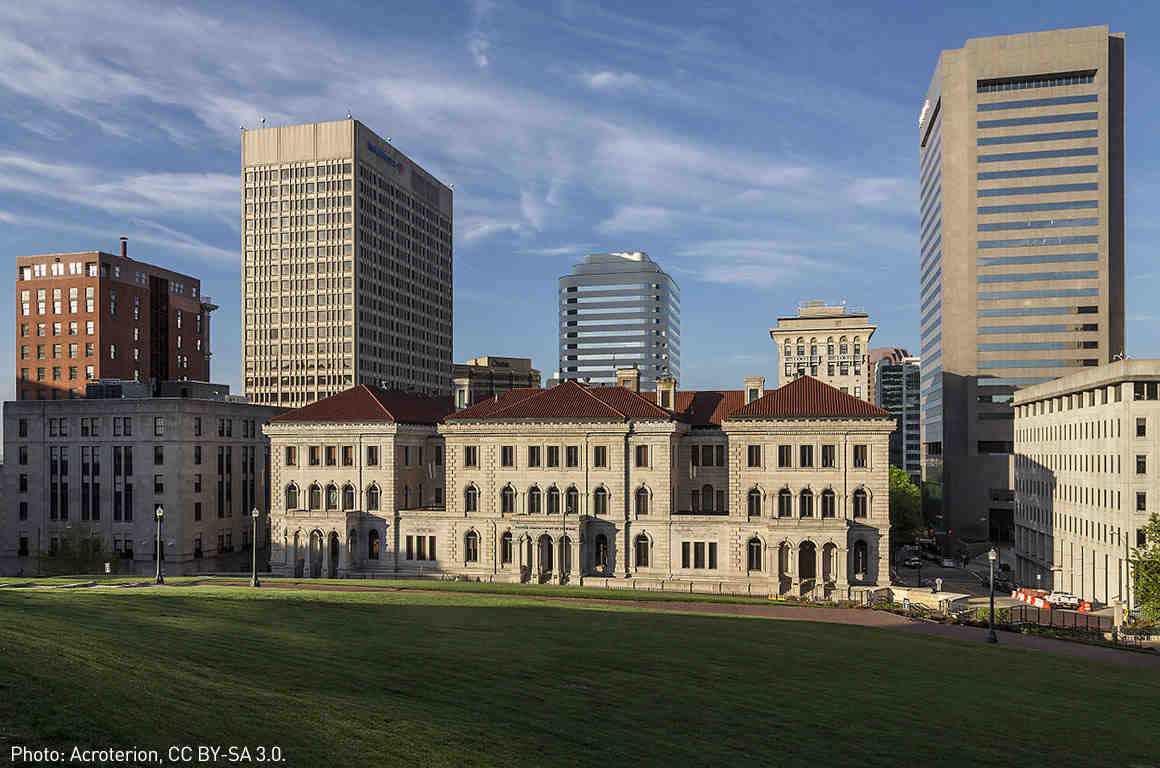 The Court of Federal Appeals (Lewis F. Powell Courthouse) and the skyline of Richmond, Virginia.