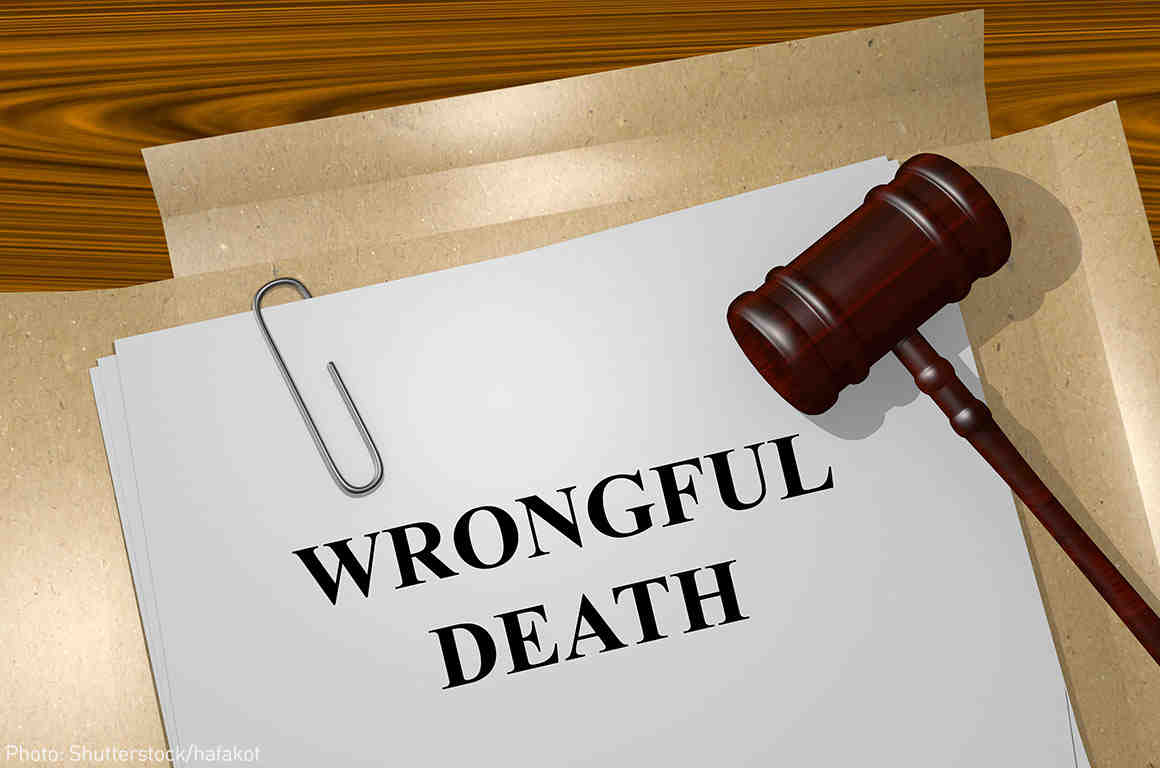 """File with """"Wrongful Death"""" printed on it and judge's gavel"""