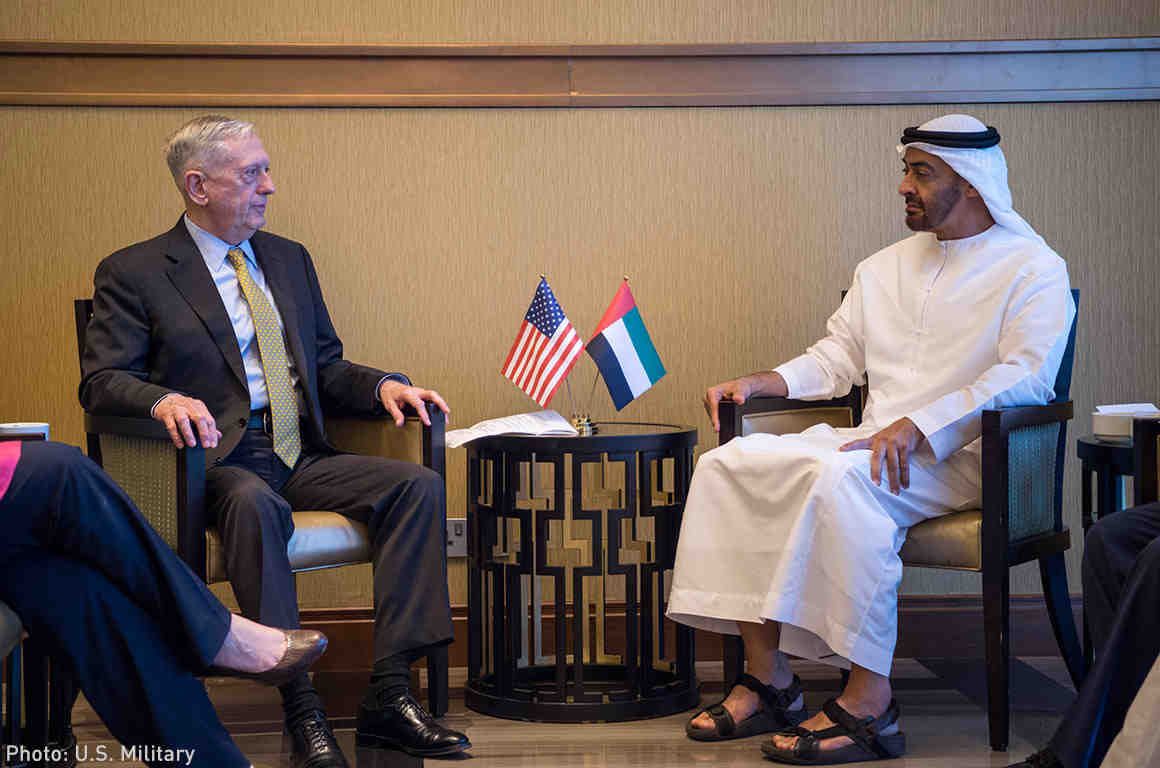 Secretary of Defense Jim Mattis meets with the United Arab Emirates' Crown Prince Mohammed bin Zayed bin Sultan Al Nahyan in Abu Dhabi, UAE.