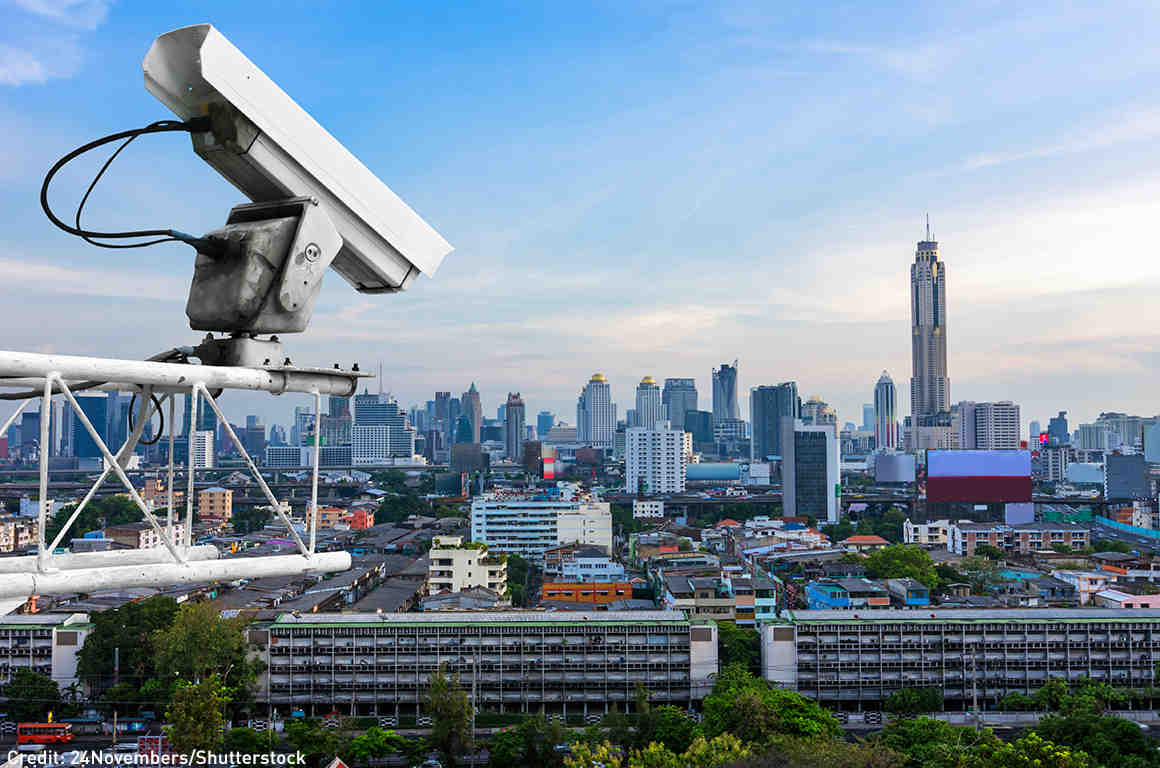 CCTV camera looking onto city