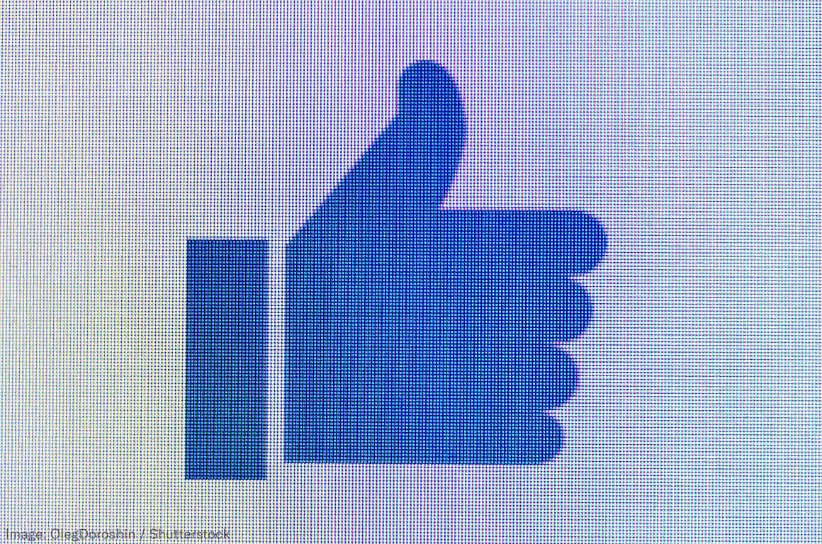 Facebook Thumb on a Pixelated Screen
