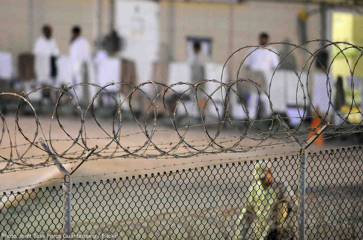 Guantanamo Prisoners behind Fence