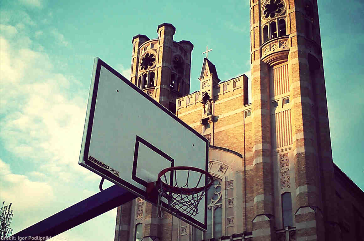 Basket Ball Hoop in front of church