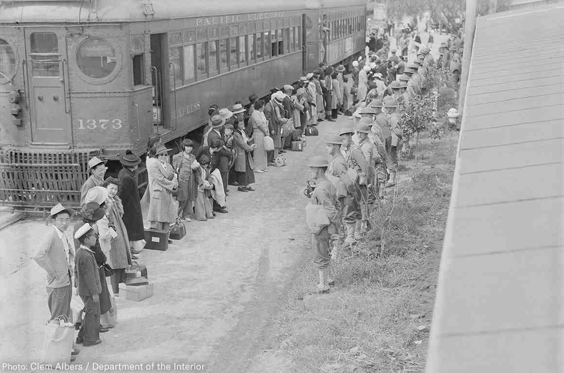 Persons of Japanese ancestry arrive at the Santa Anita Assembly center from San Pedro, California.