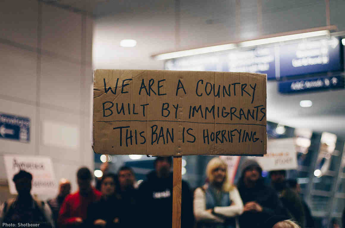 Muslim Ban Sign at Airport