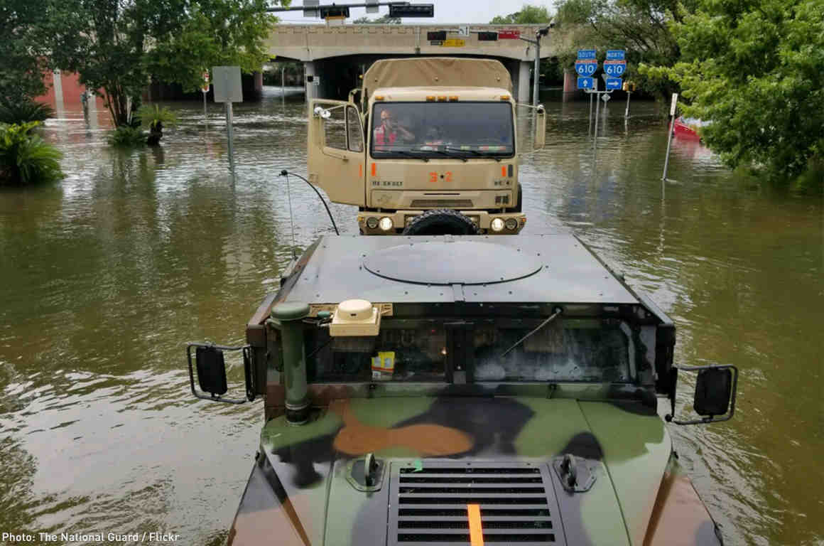 National Guard Trucks in Houston