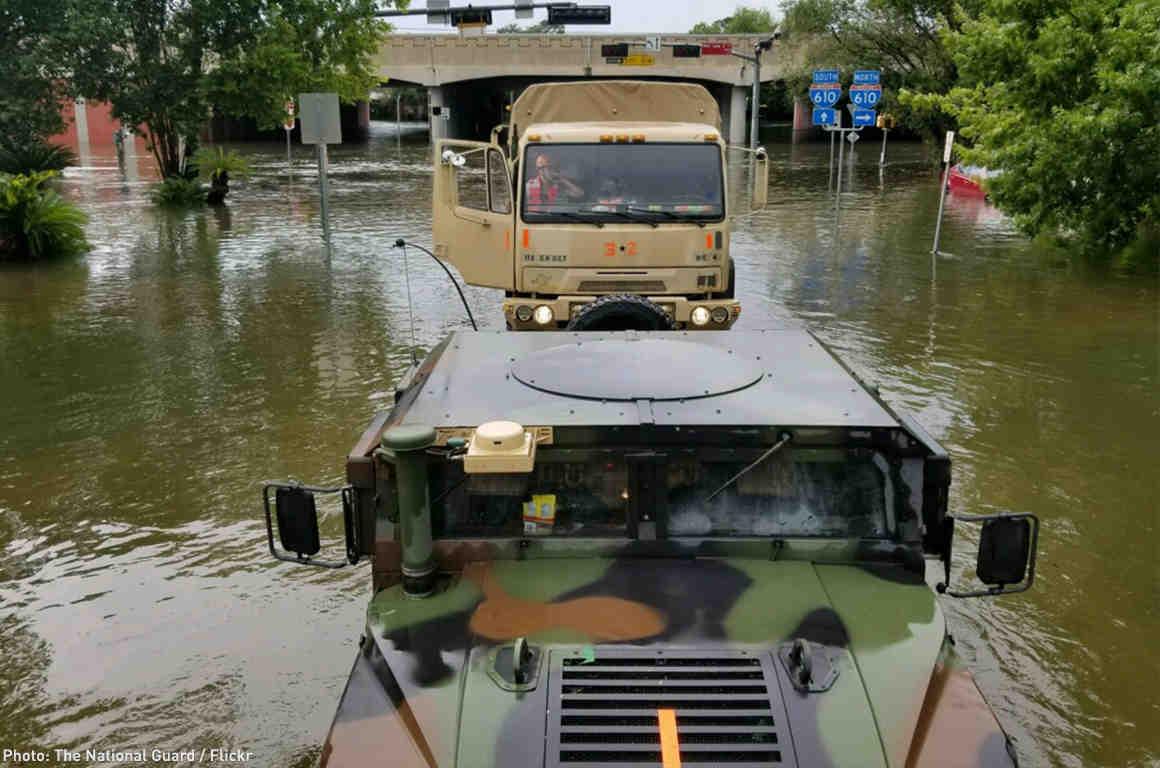 National Guard Trucks in Houston