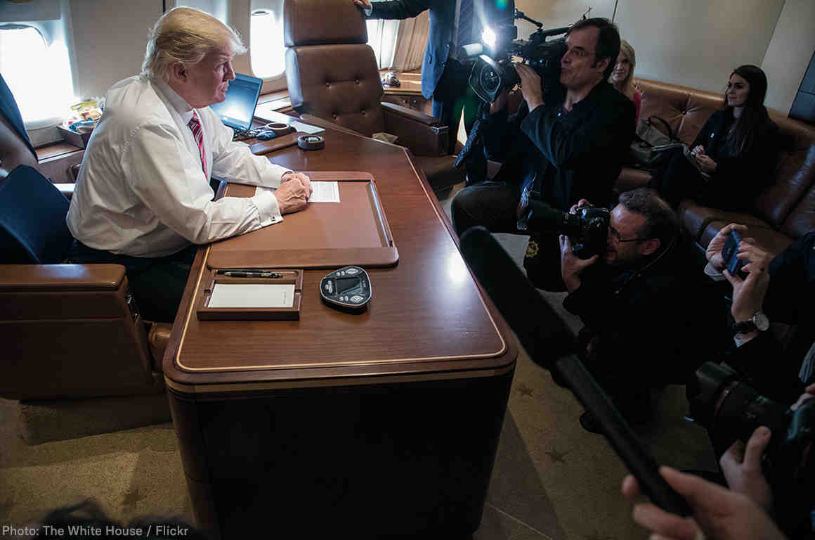 Trump with press on air force one
