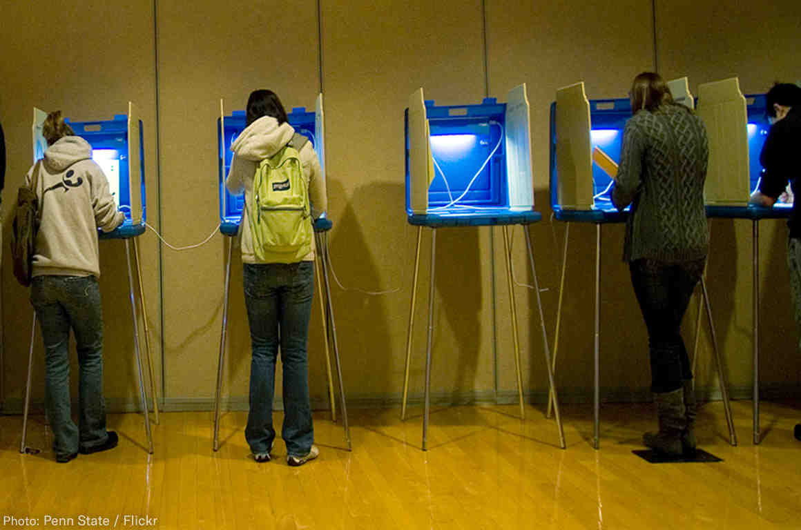 Voters go to the polls to cast their ballots.