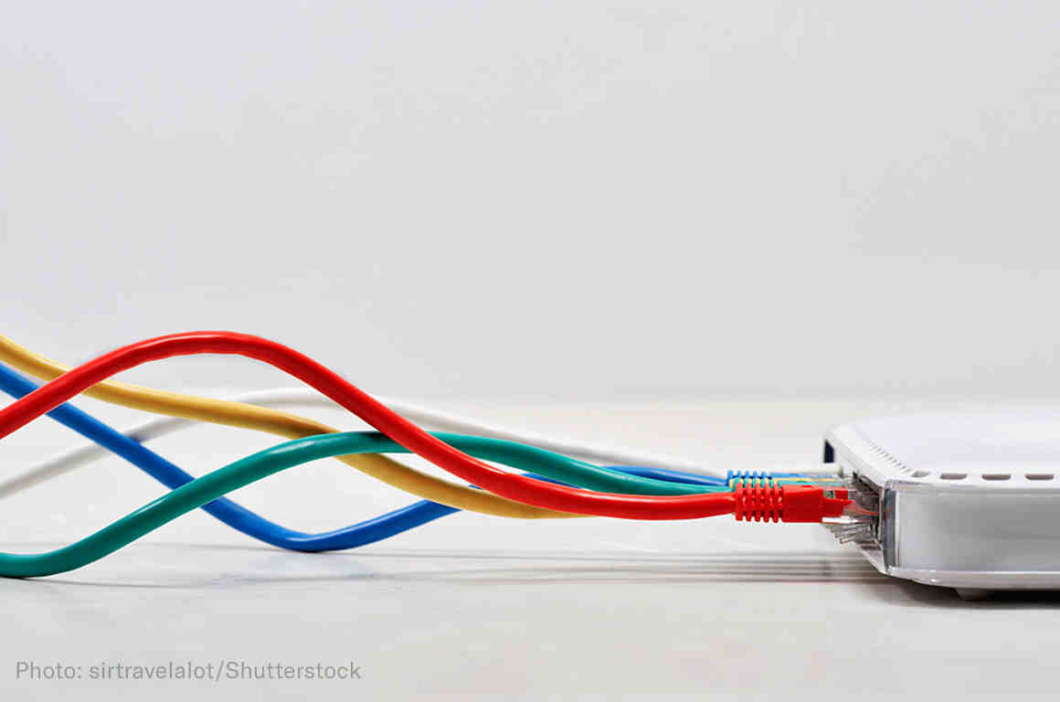 Ethernet cables plugged in