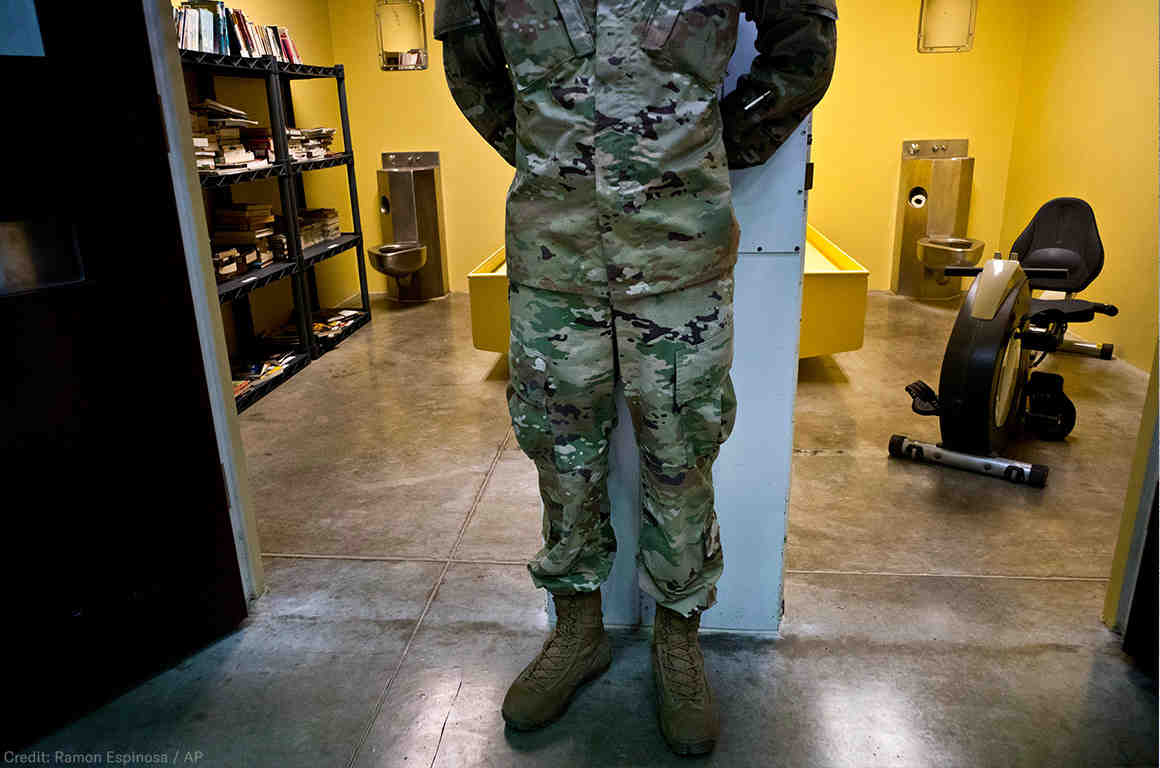 Soldier Standing Outside Guantanamo Cells
