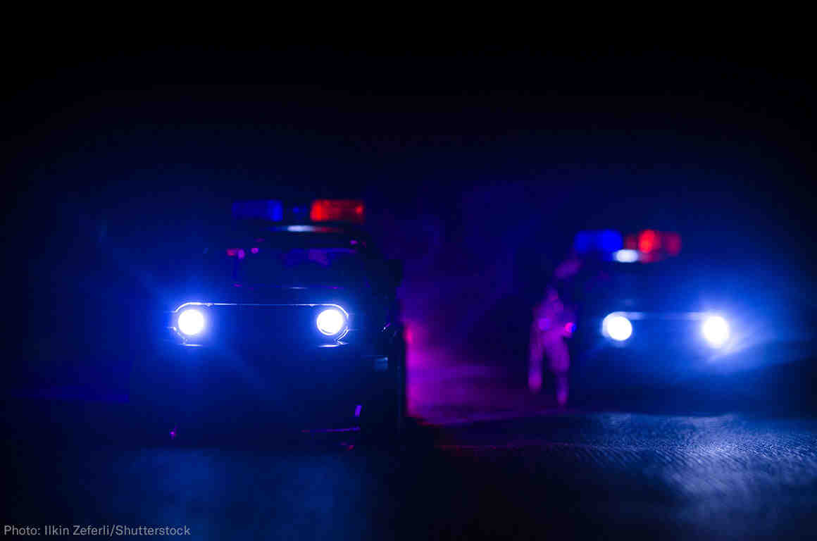 Police cars at night