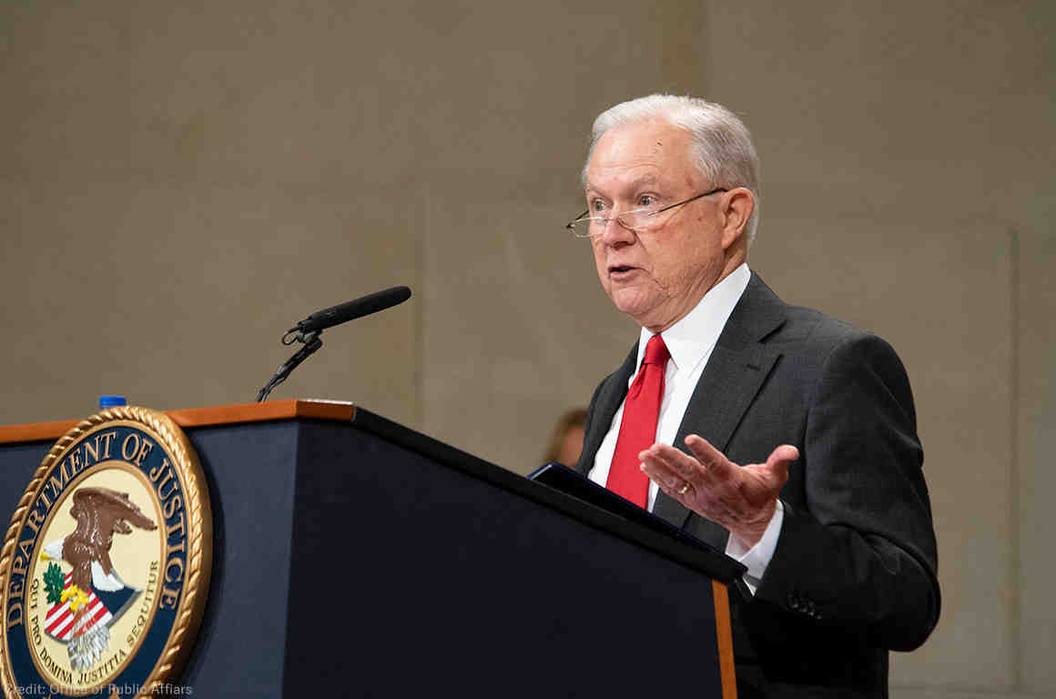 Jeff Sessions at a podium