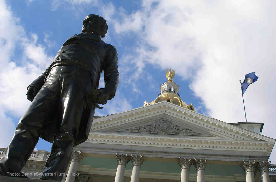 Statue of Daniel Webster outside of the New Hampshire statehouse