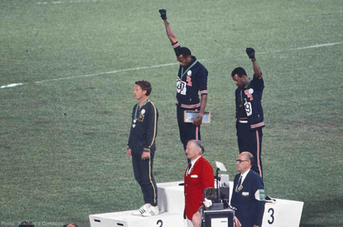 Tommie Smith and John Carlos demonstrating at the Mexico City Olympics 1968