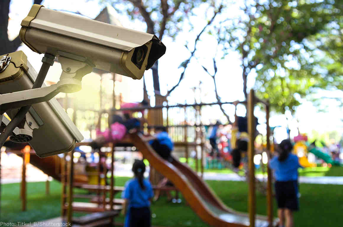 Surveillance cameras on a school playground
