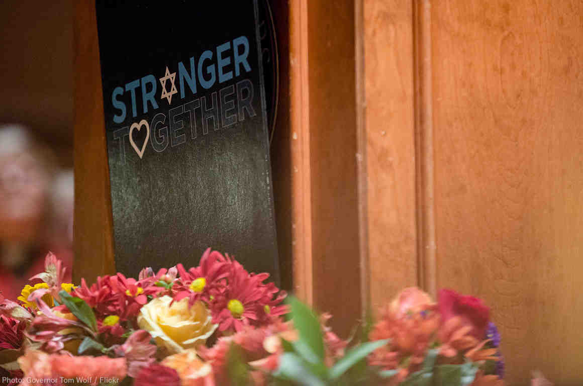 Stronger Together poster at Pittsburgh Memorial