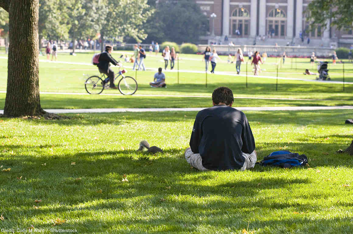 Student reading on the campus lawn