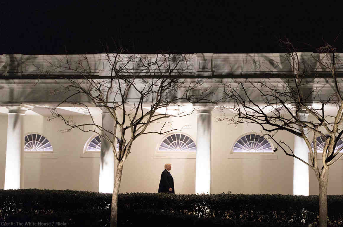 Trump Walking in the White House