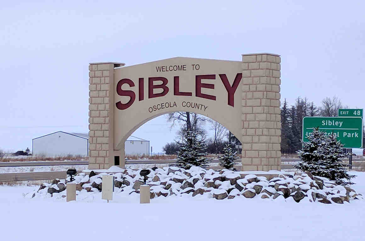 """Welcome to Sibley"" sign"