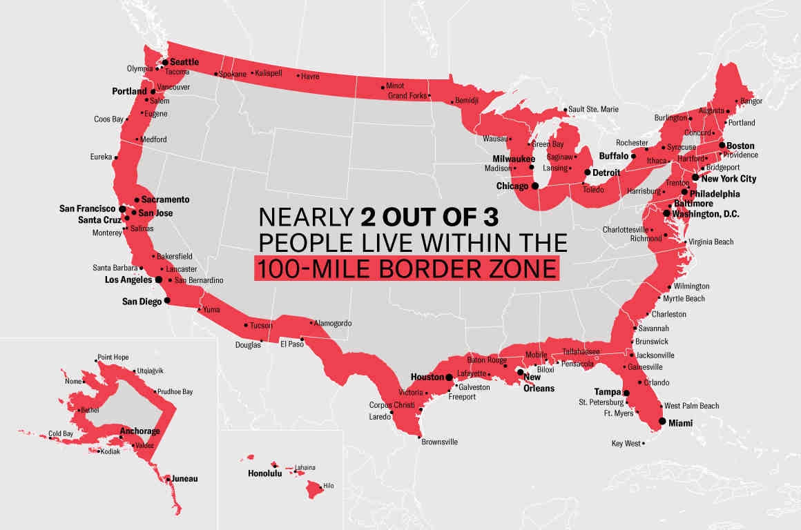 Nearly 2 out of 3 People live within the 100-mile border zone