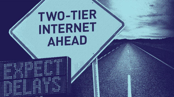 "Sign with blue overlay that reads ""two-tier internet ahead"""