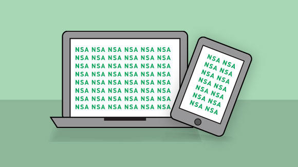 "Laptop and phone on green background with ""NSA"" on the screens"