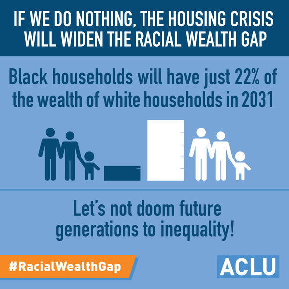 If we do nothing, the housing crisis will widen the racial wealth gap. Black households will have just 22% of the wealth of white households in 2031. Let's not doom future generations to inequality!