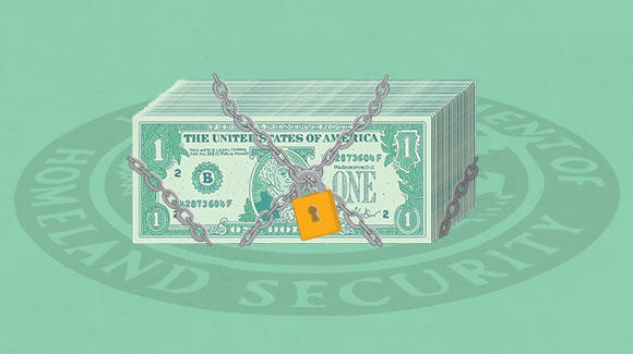 Stack of dollar bills locked in chains on green background