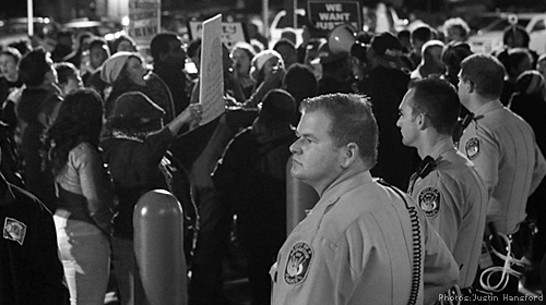 Police Line at Protest (Black and White)