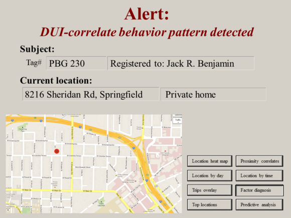 "Meet Jack Slide: ""Alert: DUI-correlate behavior pattern detected"""