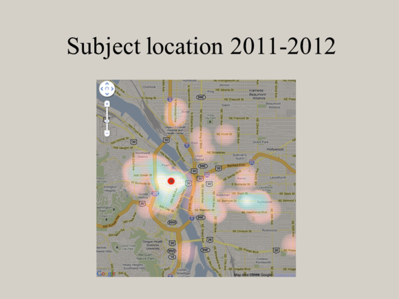 "Meet Jack Slide: ""Subject location 2011-2012"""