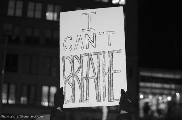 I Can't Breathe: sign held at New York City protest for Eric Garner