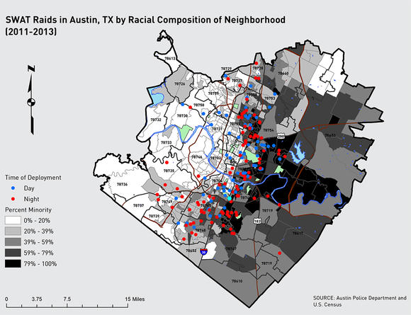 SWAT Raids in Austin, TX by Racial Composition of Neighborhood