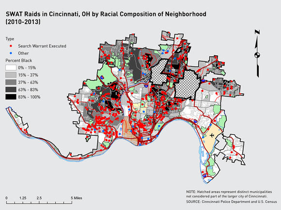 SWAT Raids in Cincinnati, OH by Racial Composition of Neighborhood