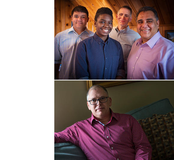 Gregory Bourke and Michael DeLeon and family (top) Jim Obergefell (bottom)