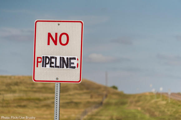 """No Pipeline"" sign on road"