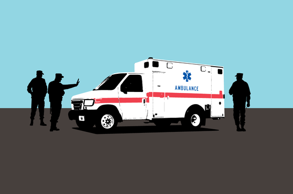 Illustration of Ambulance stopped by CBP