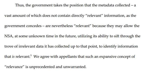 Excerpt from 2nd Circuit ruling on NSA call records program.