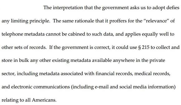 Excerpt from 2nd Circuit decision on NSA call records program.